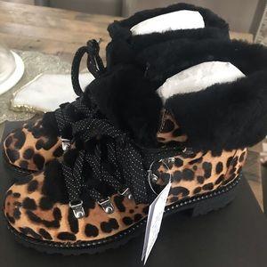 J Crew Leopard Nordic Calf Hair Boots 8